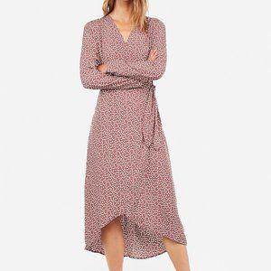 NWOT Express Mauve Polka Dot Wrap Tie Dress